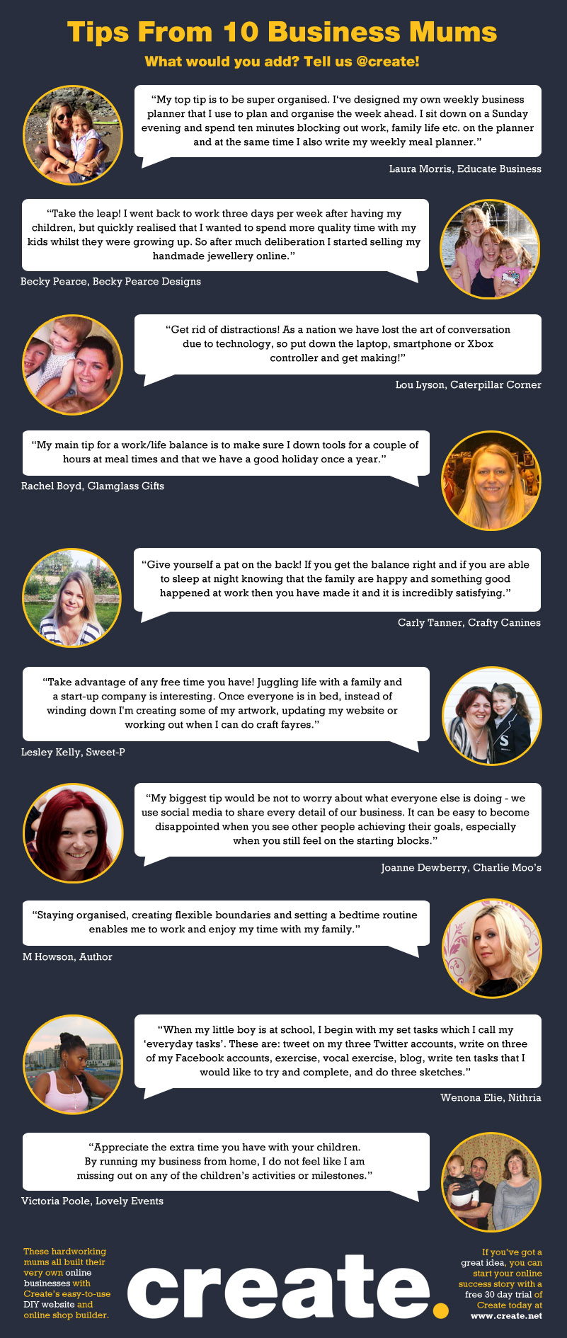 Tips From 10 Business Mums - INFOGRAPHIC